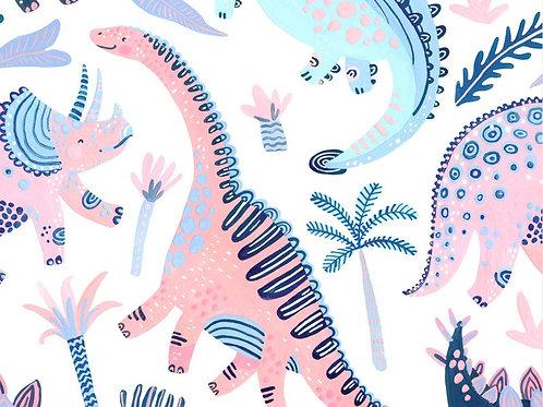 Little Johnny Pink Dinosaur 100% Cotton Fabric Per Half Metre