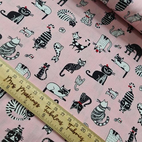 Sew Pretty Kitty 100% Cotton Poplin Per Half Metre