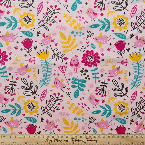 Pink Birs and Flowers Jersey Per Half Metre