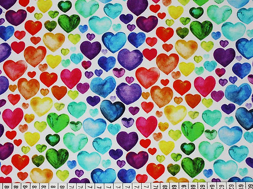 Little Johnny Rainbow Heart Jersey Cotton Stretch Fabric Per half metre