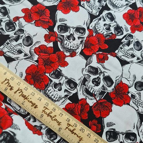 Red Floral & Skull 100% Cotton Poplin Per Half Metre