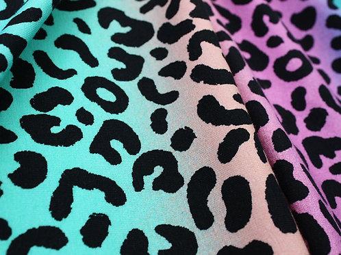 Little Johnny Rainbow Leopard Print Jersey Cotton Stretch Fabric Per Half Metre