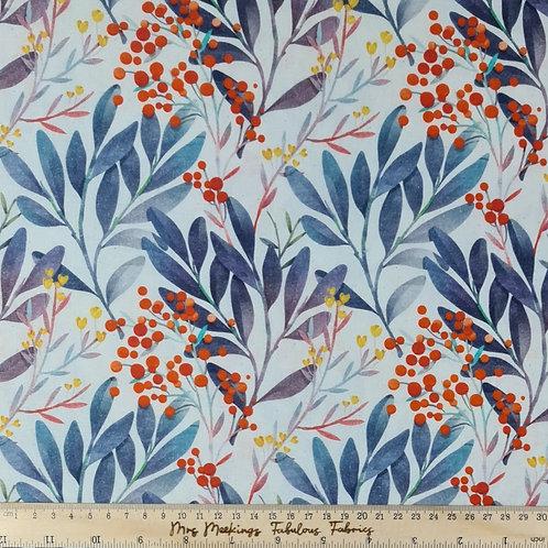 Berry & Floral Digitally Printed 100%Cotton Per Half Metre