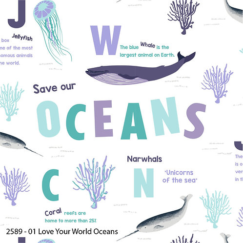 Natural History Museum Save our Oceans 100% Cotton Per Half Metre