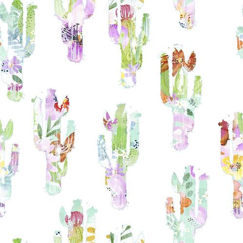 Watercolour Floral Cactus 100% Cotton Per Half Metre