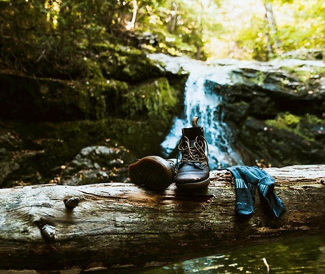 Waterfall and boots