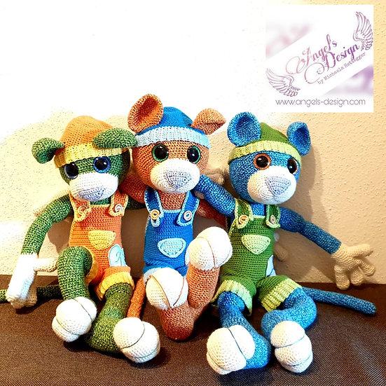 Bekleidungs-Set 1 für TeddyCat -Latzhose & Mütze
