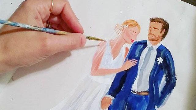 Custom Wedding Couple Watercolor Portrait
