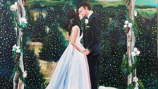 Custom Wedding Couple Acrylic Painting on Canvas