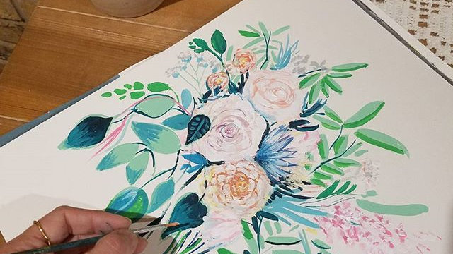 Custom Floral Bouquet Watercolor Painting
