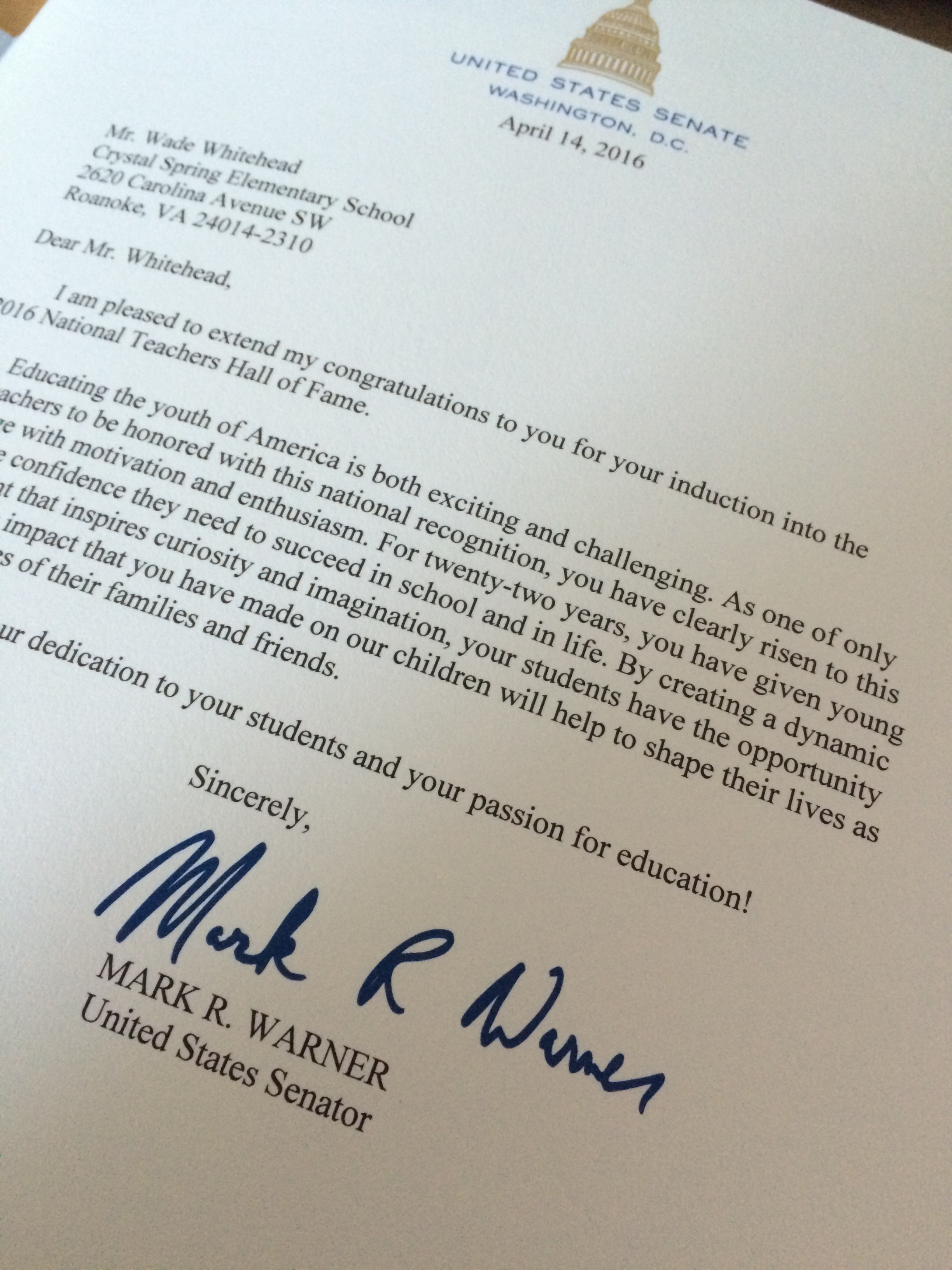 letter from US Senator Mark Warner