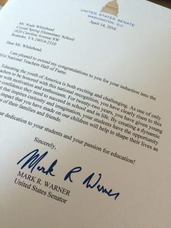 letter from US Senator Mark Warner