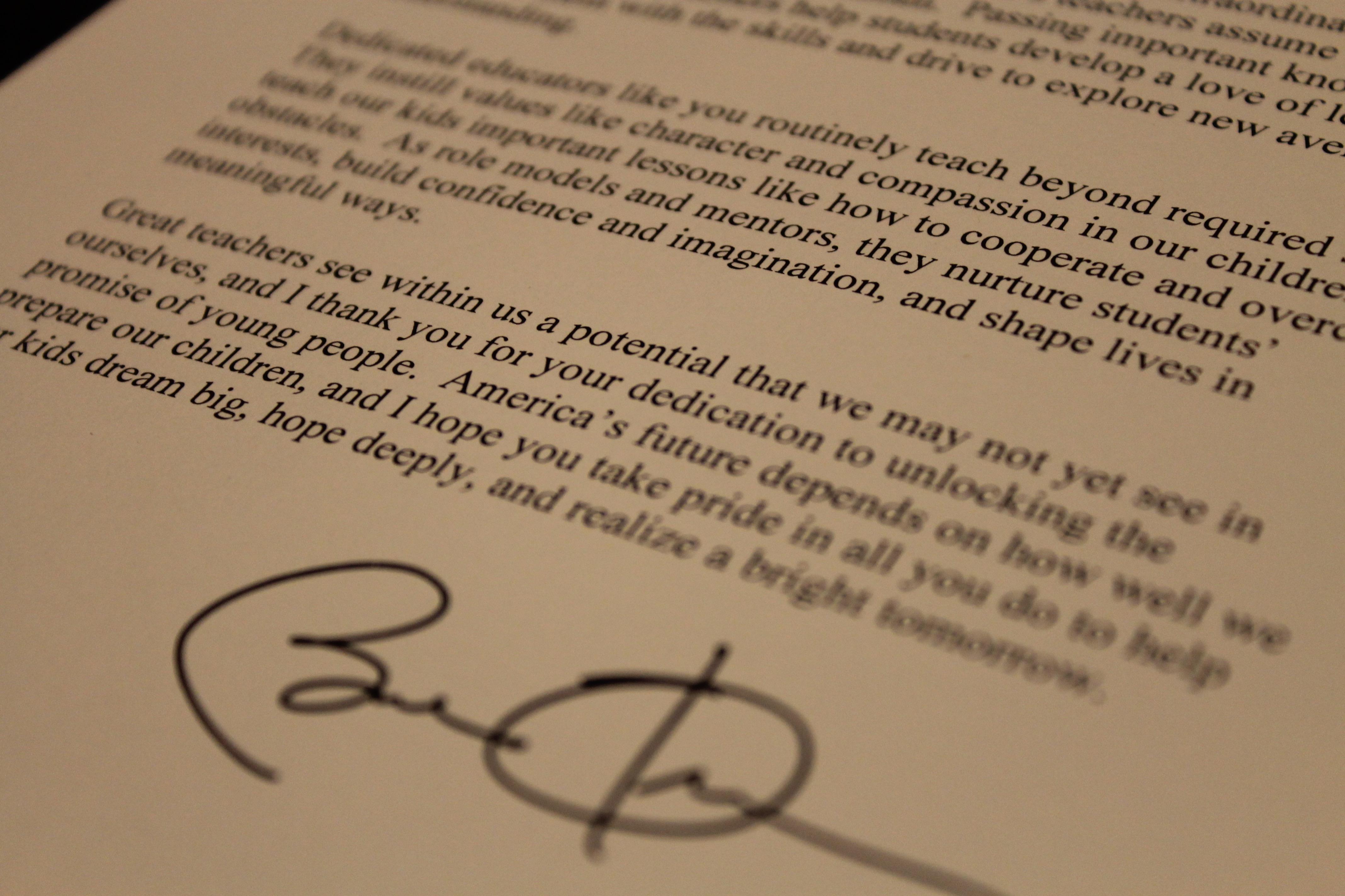 letter from President Obama