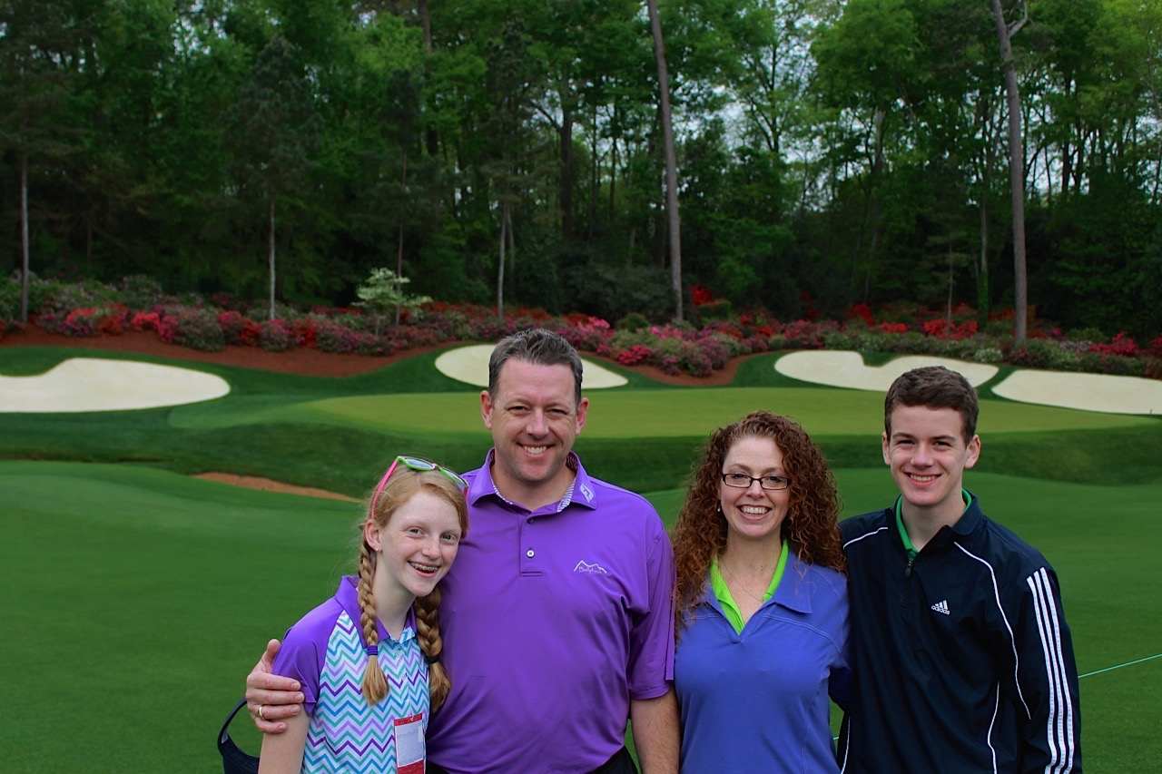 at the Masters with Robbie and the kids