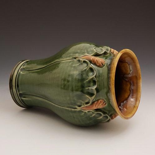Glossy green petal vase