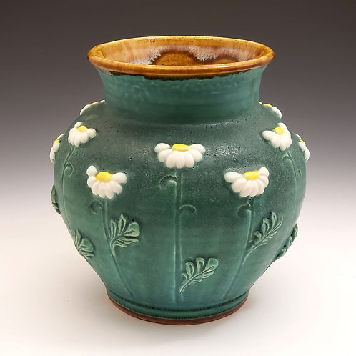 Large round daisy vase with 12 daisies