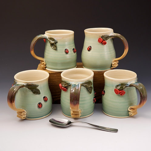 Celedon Mugs with Roses and ladybugs