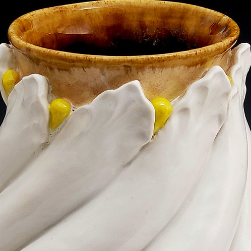 White twisted petal vase