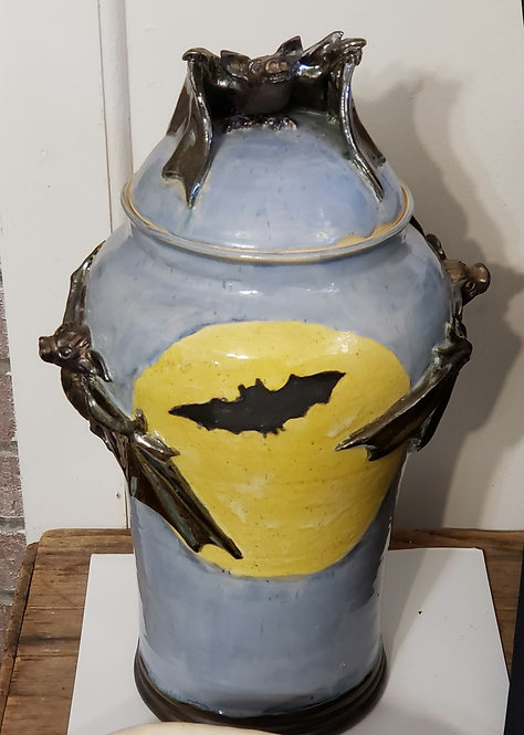 Large Jar with Bats and Moon