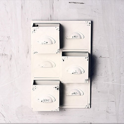 set of white cubbie