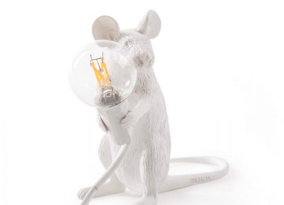 Mouse lamp White, sitting