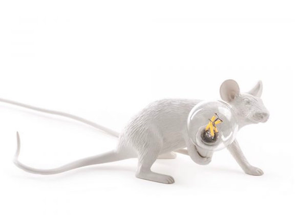 Mouse lamp white, lie down