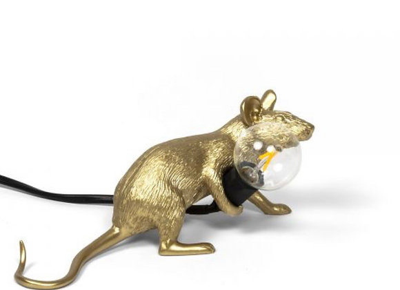 Mouse lamp Gold, lie down