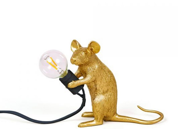 Mouse lamp Gold, sitting