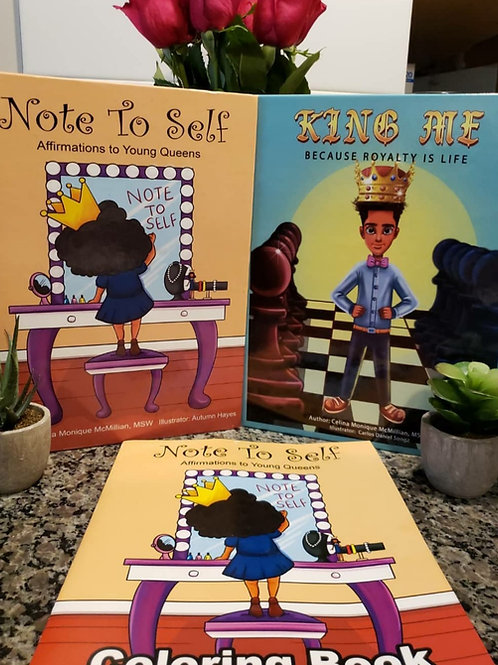 """Note to Self: Affirmations to Young Queens""; ""King Me: Because Royalty is Life"""