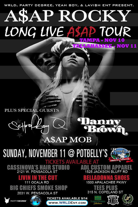 YB Ent Presents ASAP Rocky Tour Featuring The Mob, Schoolboy Q and Danny Brown.