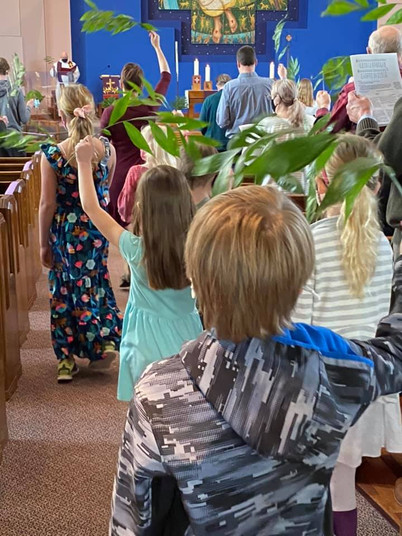 Palm processional on Palm Sunday!