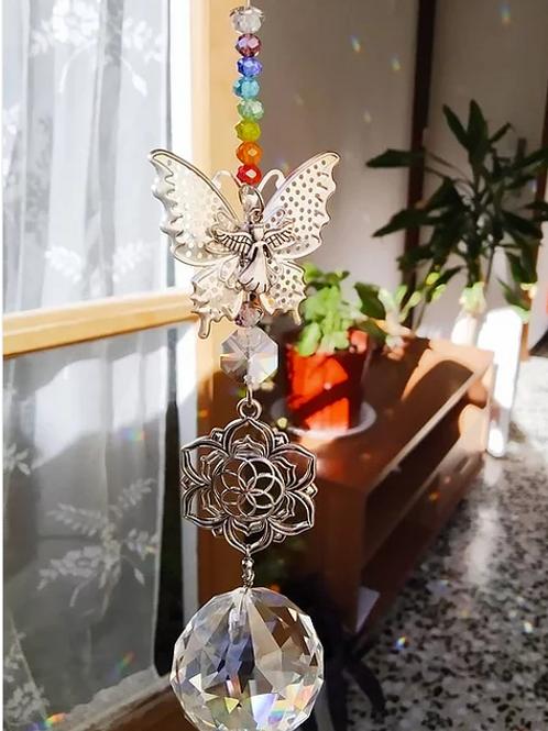 Mariposa plateada+Geometría+Angel+Piedras varias+Arcoiris