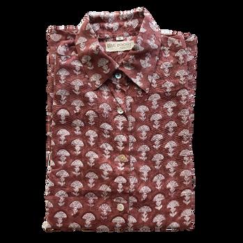 Shirt . Block Printed  45,00€  Material: 100% Cotton  Colour: Bordeaux  Size: S, M, L, XL