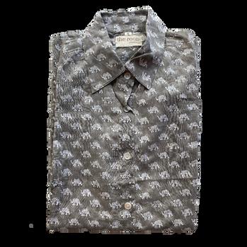 Shirt . Block Printed  45,00€  Material: 100% Cotton  Colour: Gray  Size: S, M, L, XL