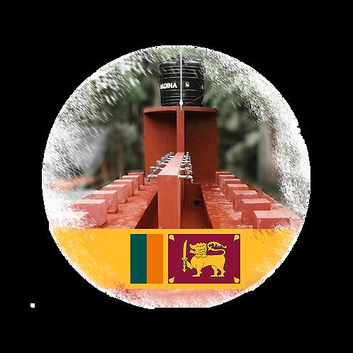 Wasserbrunnen mit Pumpe, Tank und 20 Wasserhähnen in Sri Lanka