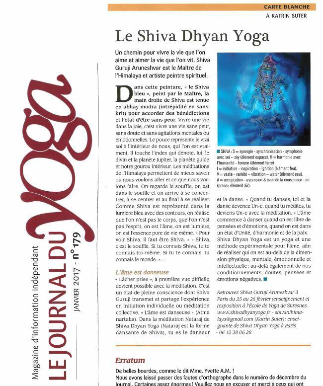 Journal du Yoga Janvier 2017