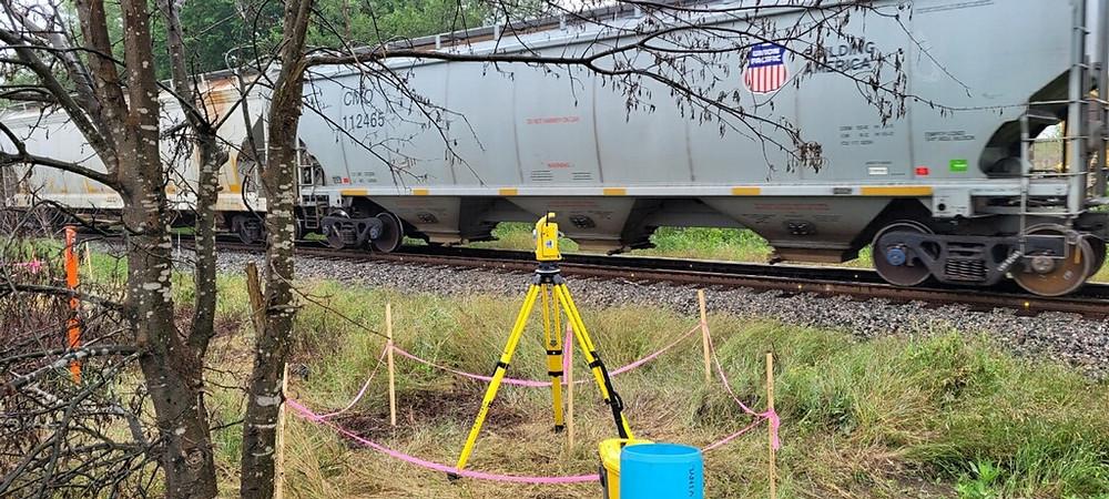 Train passing survey equipment.
