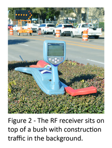 Figure 2 - The RF receiver sits on top of a bush with construction traffic in the background.
