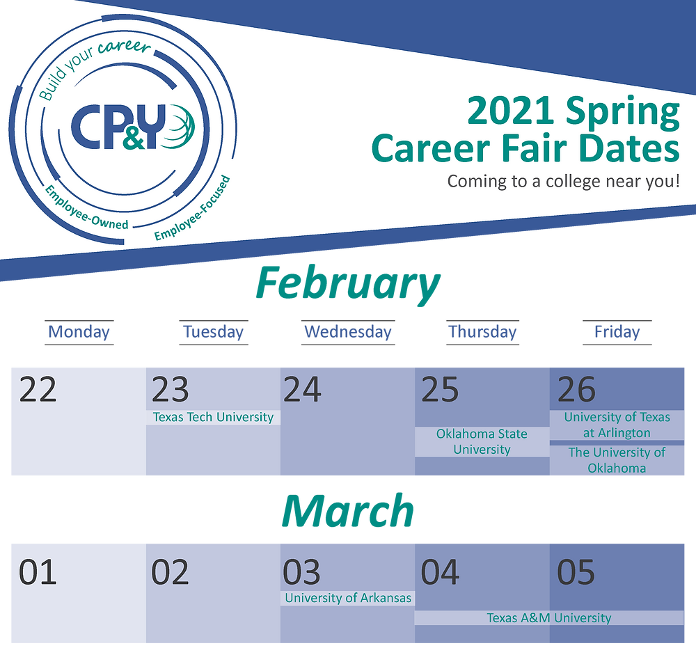 Calendar graphic showing dates for career fairs in February and early March. Details in bulleted list below.