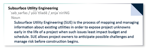 """Subsurface Utility Engineering (SUE) is the process of mapping and managing information about existing utilities in order to expose project unknowns early in the life of a project when such issues least impact budget and schedule. SUE allows project owners to anticipate possible challenges and manage risk before construction begins."""