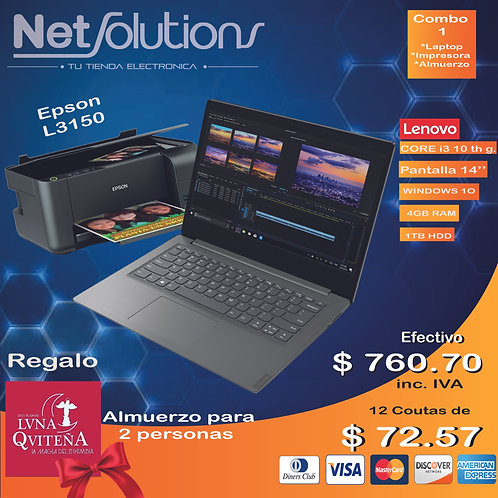 Combos Día de la Madre Lenovo i3 +Impresora Epson multifunción 3160L