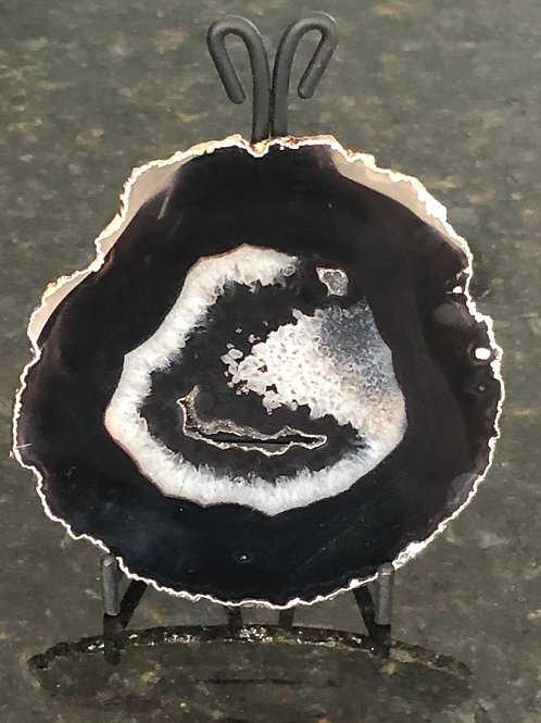 Black Agate Slice With Stand