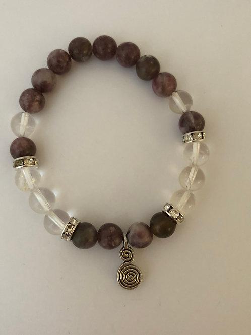 Lepidolite & Clear Quartz Bracelet