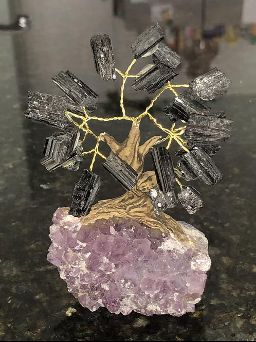 Black Tourmaline Amethyst Bonsai Tree
