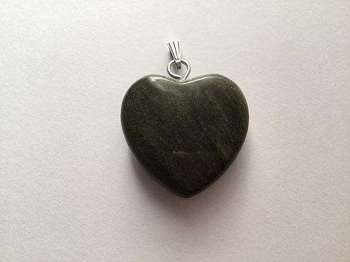 Silver Sheen Obsidian Heart Pendant-Silver Bail