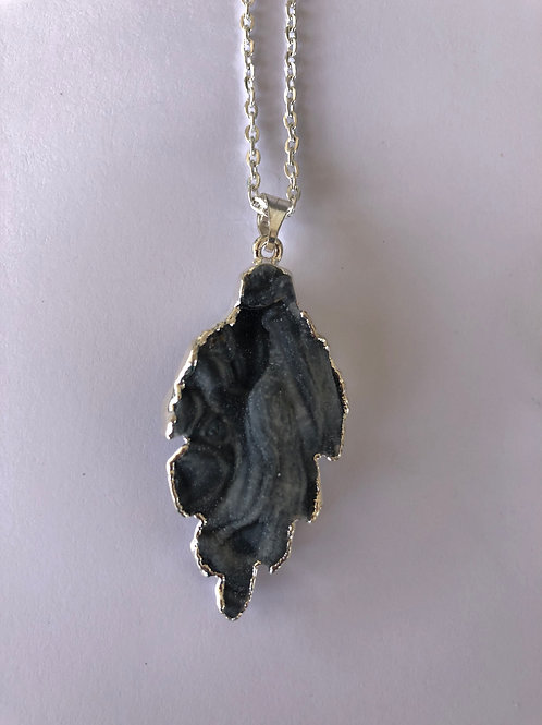 Agate Druzy Silver Plated Necklace