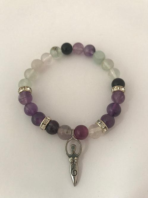 Fluorite & Amethyst Bracelet