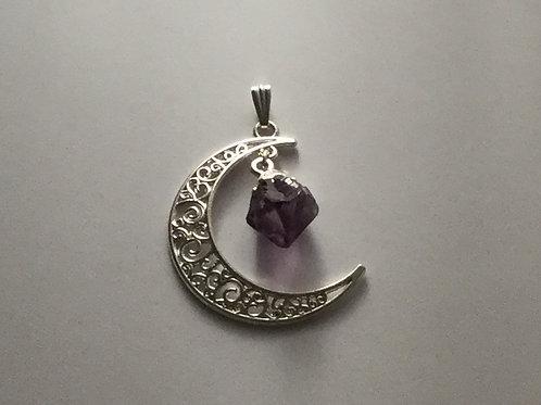 Silver Plated Moon-Amethyst Dangle Pendant