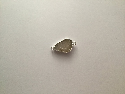 Petite Silver Plated Snow Druzy Connector Pendant