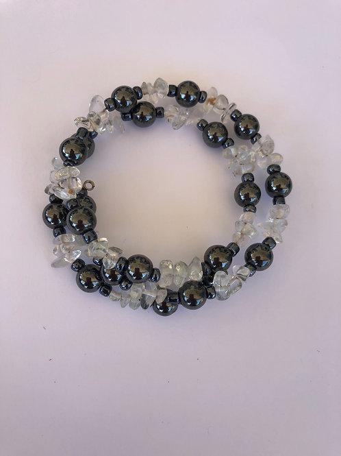 Clear Quartz Hematite Wrap Bracelet